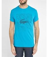 Lacoste T-shirt turchese scollo rotondo stampa cubi e coccodrillo