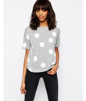 ASOS - T-shirt oversize a pois - Grigio