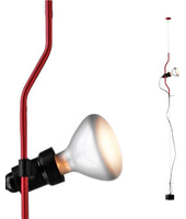 Flos lampada a sospensione PARENTESI D con dimmer (Rosso - Acciaio / Elastomero)