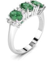 Anello con diamanti e tre smeraldi ovali